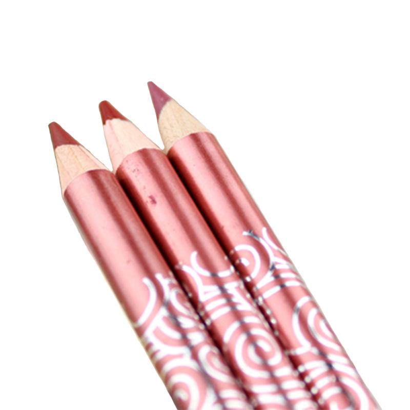 3ピース-口紅長続きライナーペンシルルビーウーキスプルーフ口紅防水光沢マット赤鉛筆メイクリップ鉛筆